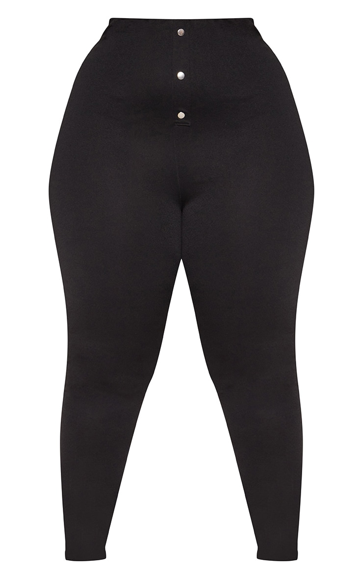 Plus Black High Waisted Popper Front Trousers 3
