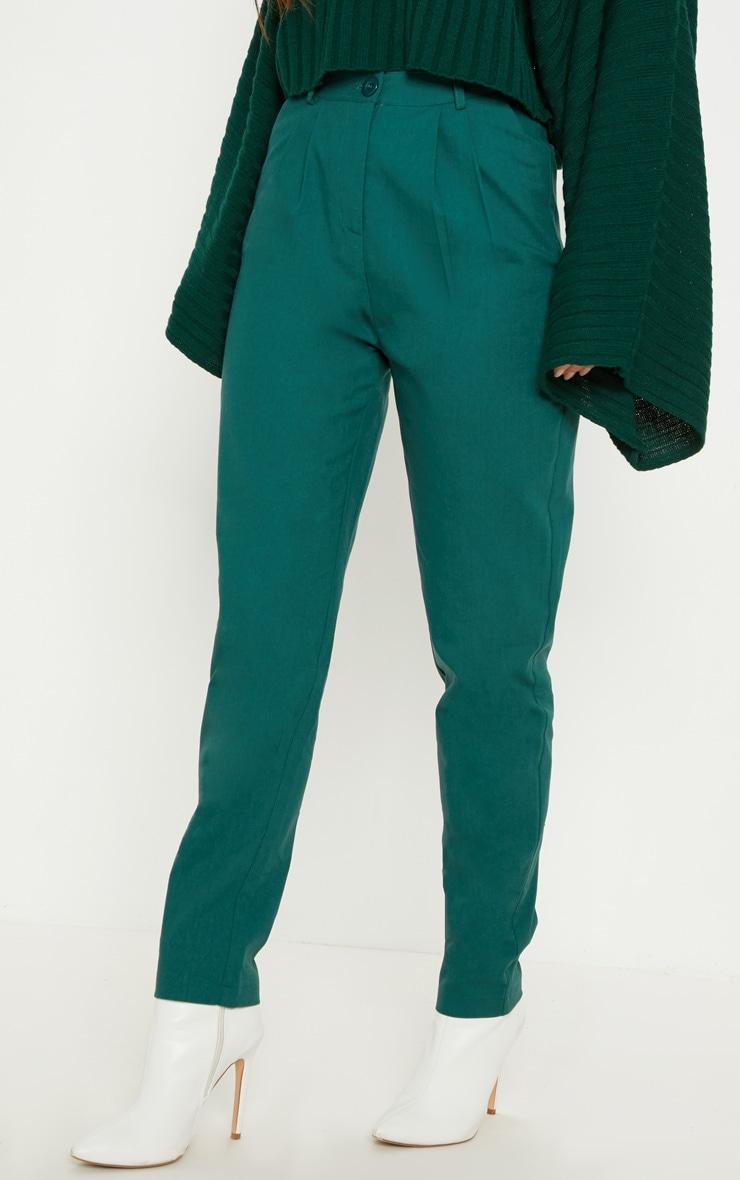 Pantalon cigarette vert émeraude plissé 2
