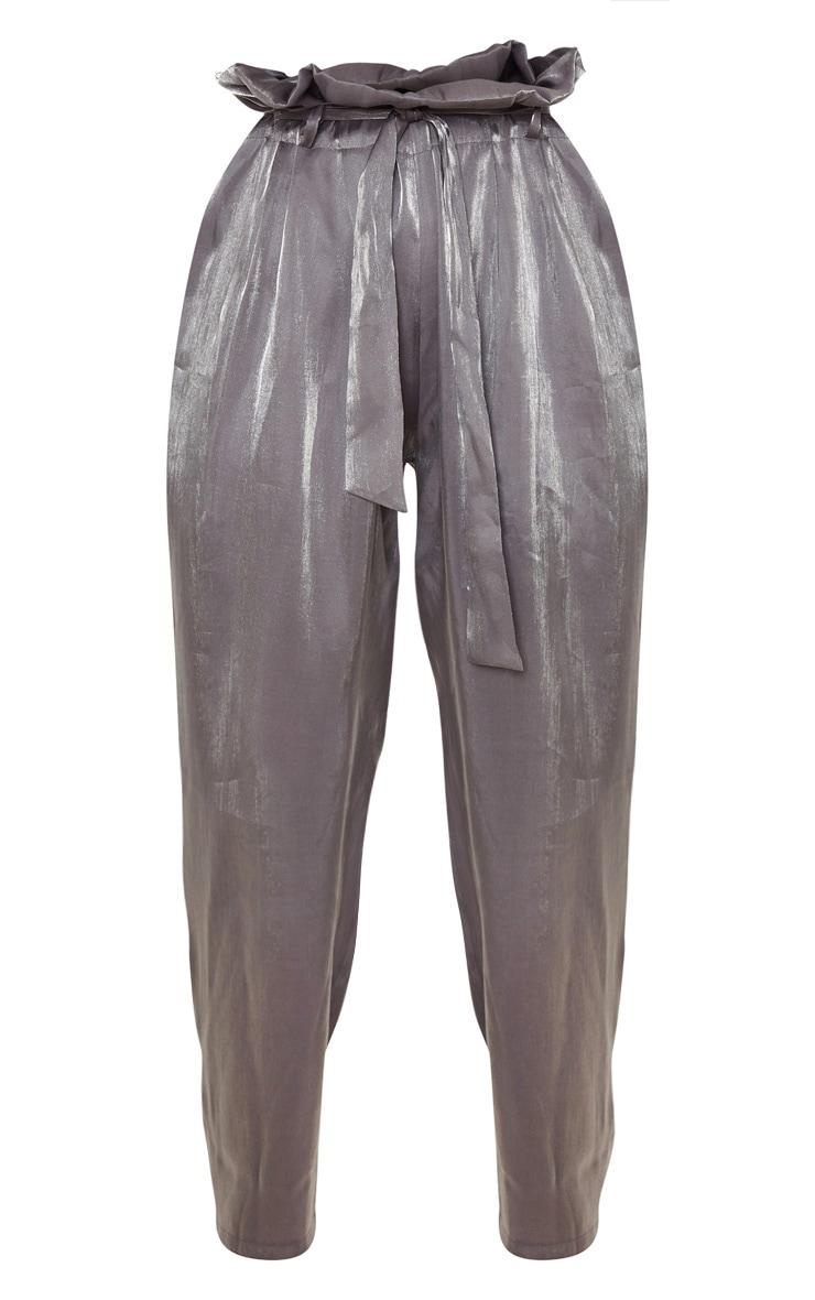 Grey Shimmer Paper Bag Balloon Leg Pants 3