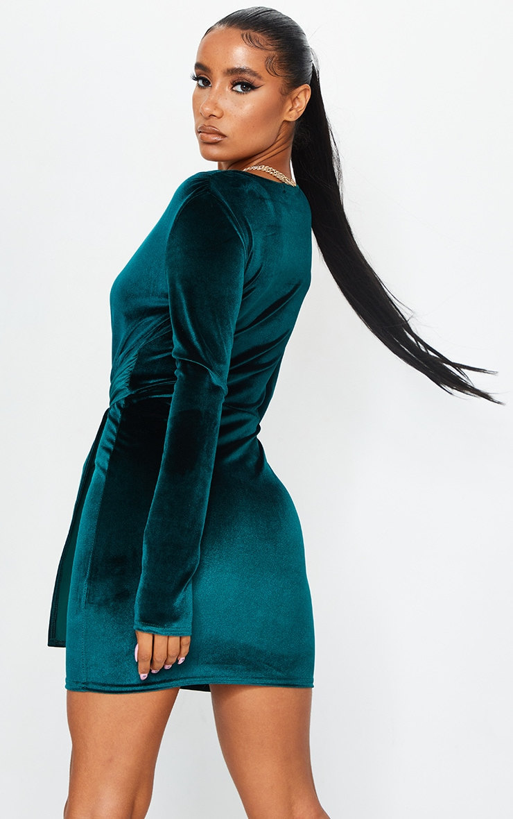 Emerald Green Velvet Deep Plunge Tie Waist Bodycon Dress 2