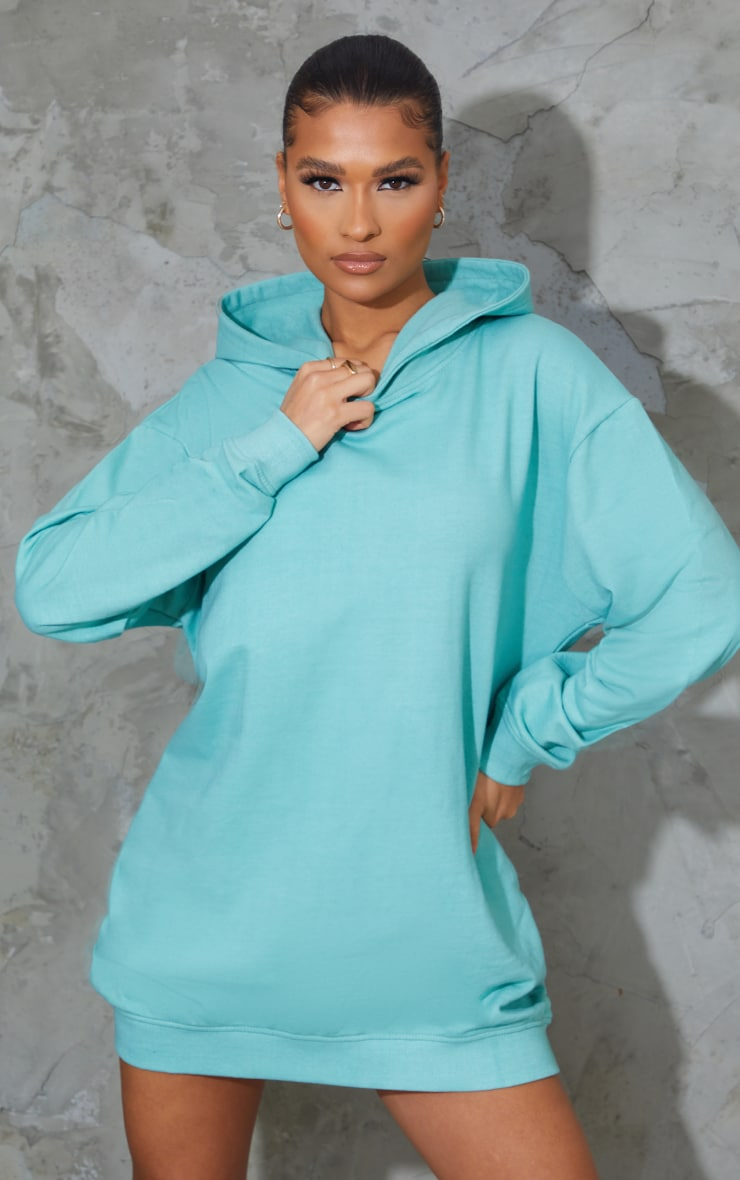 Washed Green Oversized Hoodie Sweat Jumper Dress 1