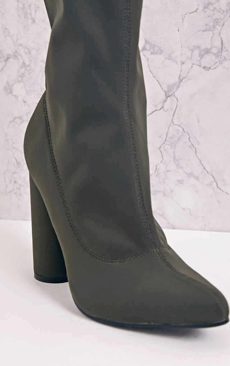 Leanah Khaki Neoprene Pointed Heeled Ankle Boots 5