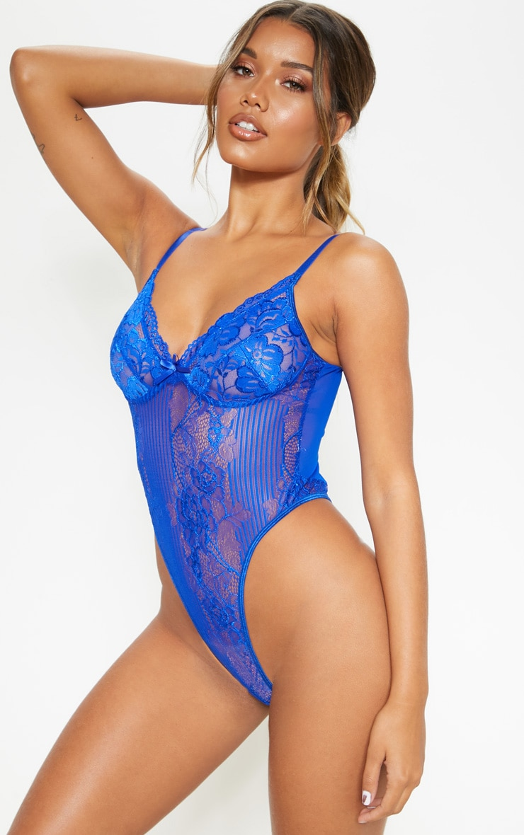 Cobalt Lace Insert High Leg Cupped Body 1