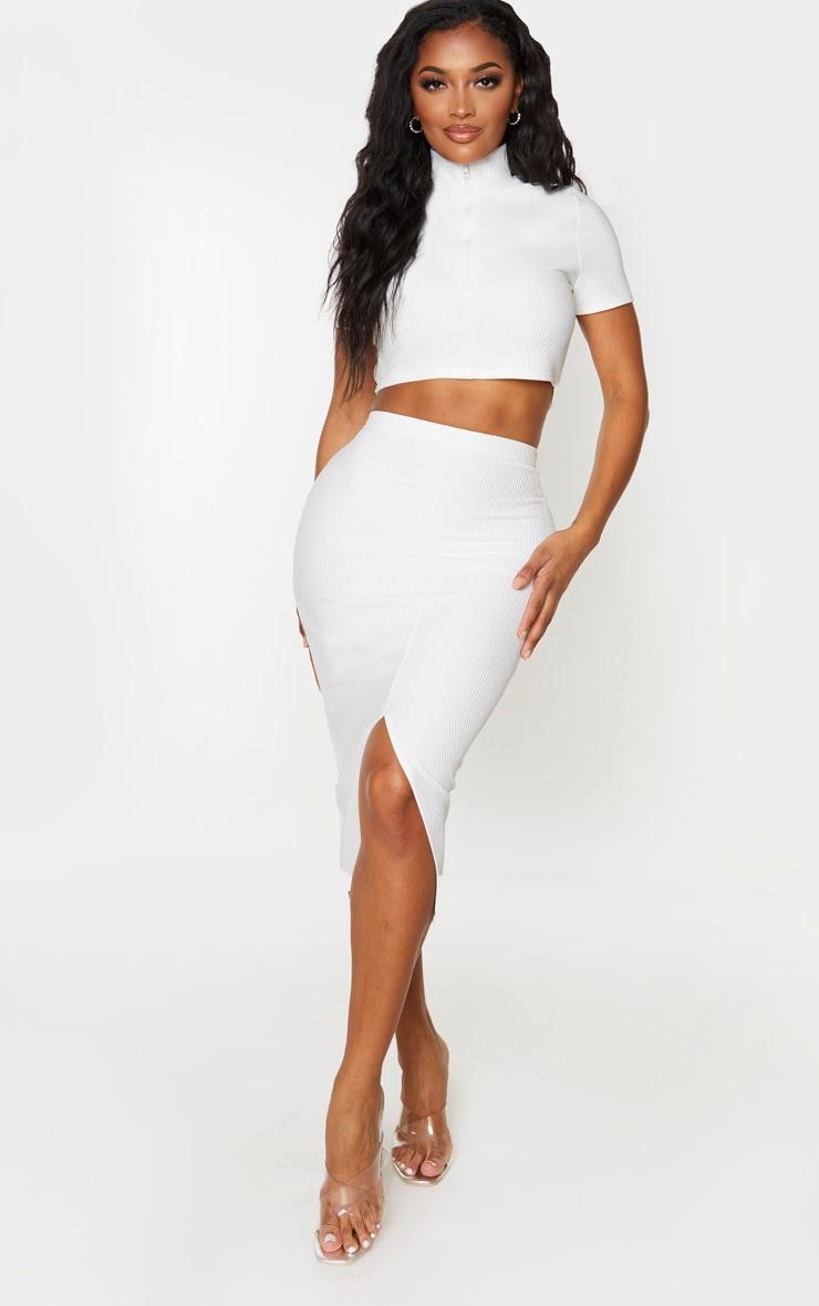 Shape Cream Jumbo Rib High Waist Midi Skirt 1
