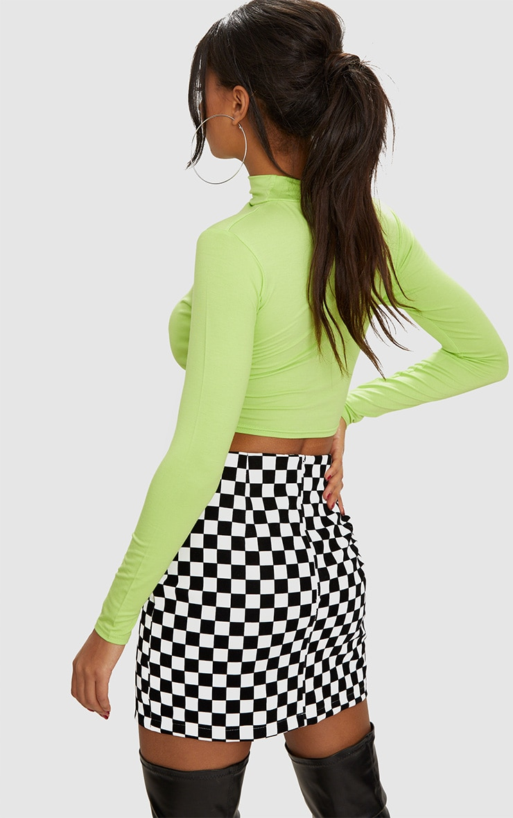 Lime Jersey Open Front Long Sleeve Crop Top 2