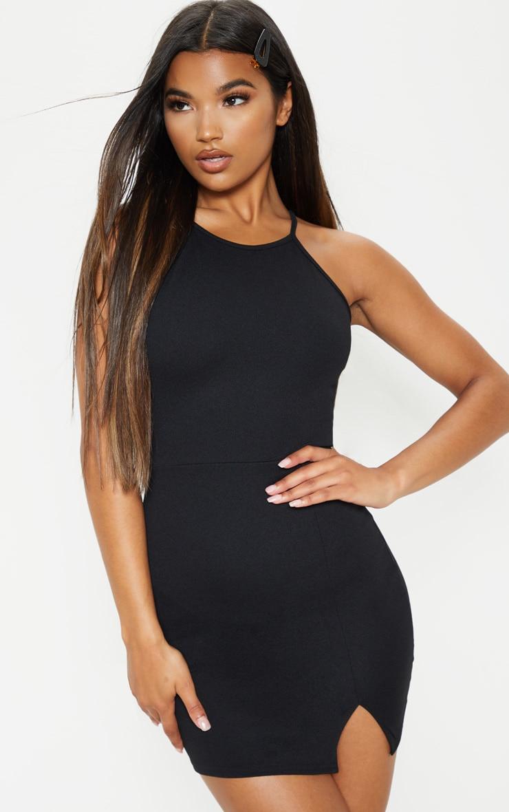 Aniqah Black High Neck Split Detail Bodycon Dress 1