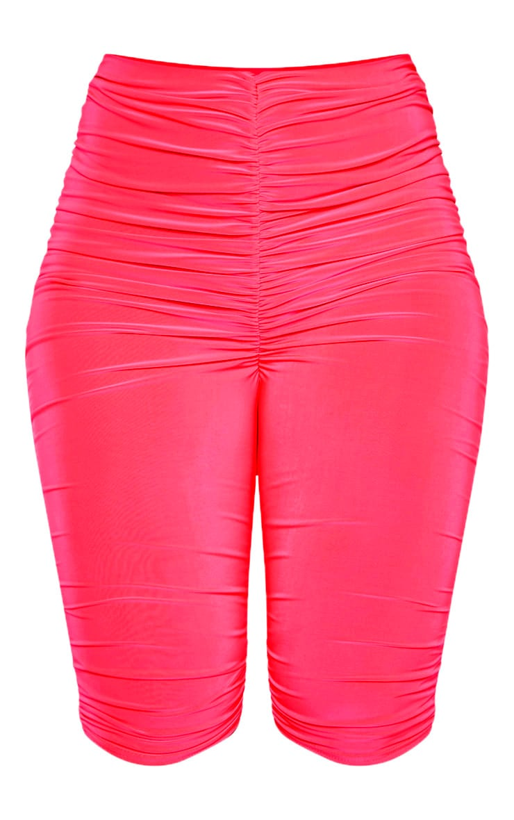 Neon Pink Slinky Ruched Bike Short 3