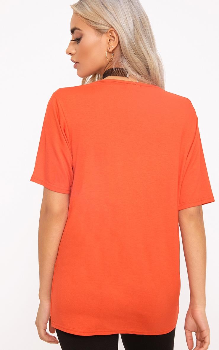 Basic Bright Orange  V Neck T Shirt 2
