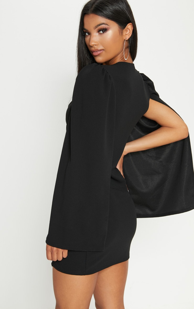 Black Cape Button Detail Blazer Dress 2