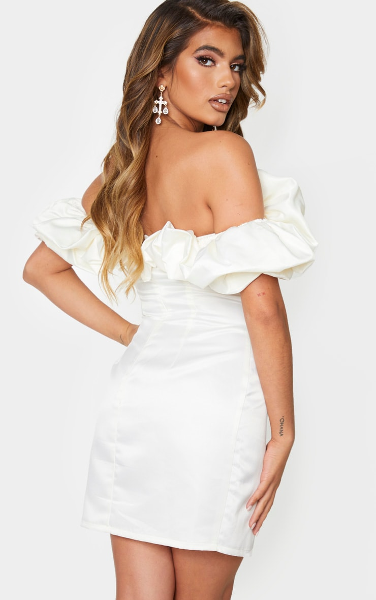 Cream Satin Ruffle Bardot Bodycon Dress 2