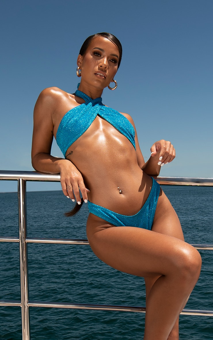 Blue Glitter Cheeky Bikini Bottoms 1