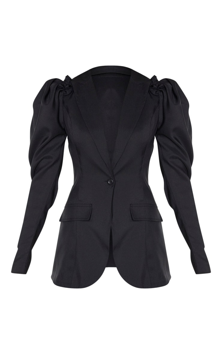 Black Woven Puff Sleeve Fitted Blazer 3