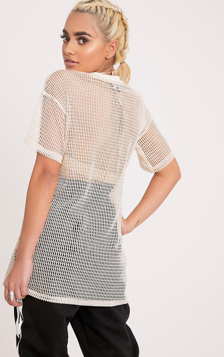 Celina Cream Dragon Applique Mesh Oversized T Shirt 2