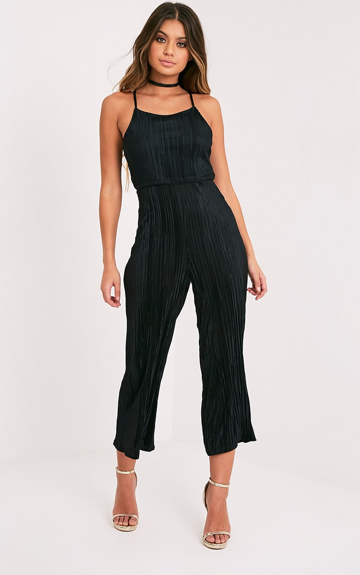 Lissy Black Pleated Strappy Tie Back Jumpsuit 5