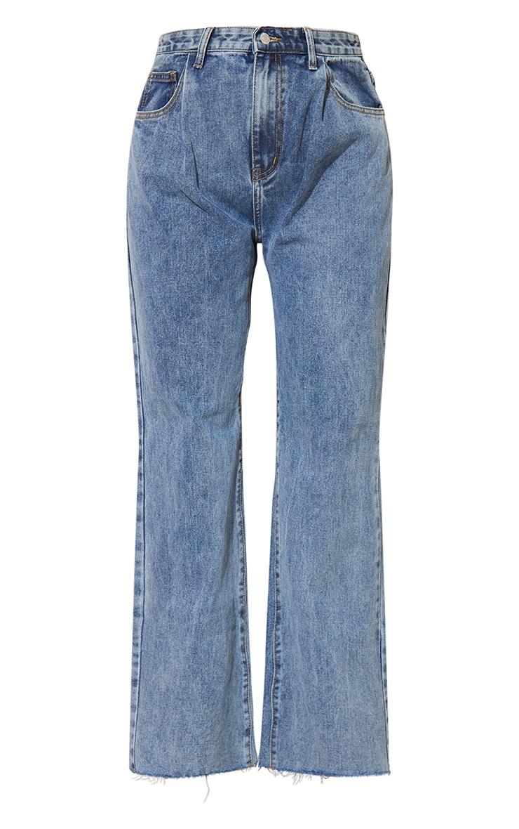 Vintage Wash Seam Pocket Detail Mom Jeans 5