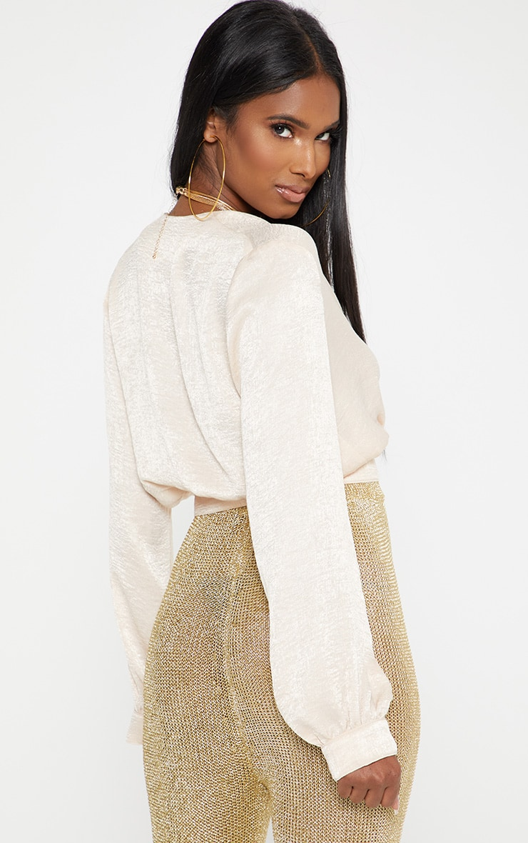 champagne Satin Button Front Crop Shirt 2
