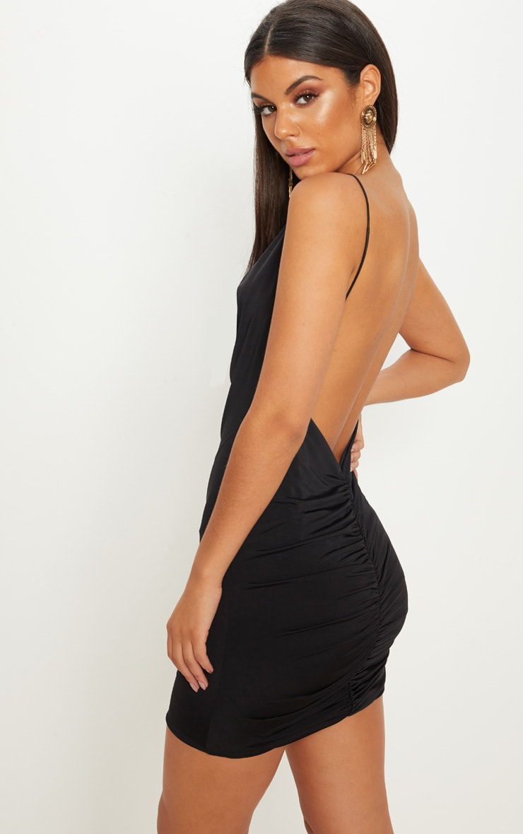 Black Slinky Cowl Neck Scoop Back Ruched Bodycon Dress 2