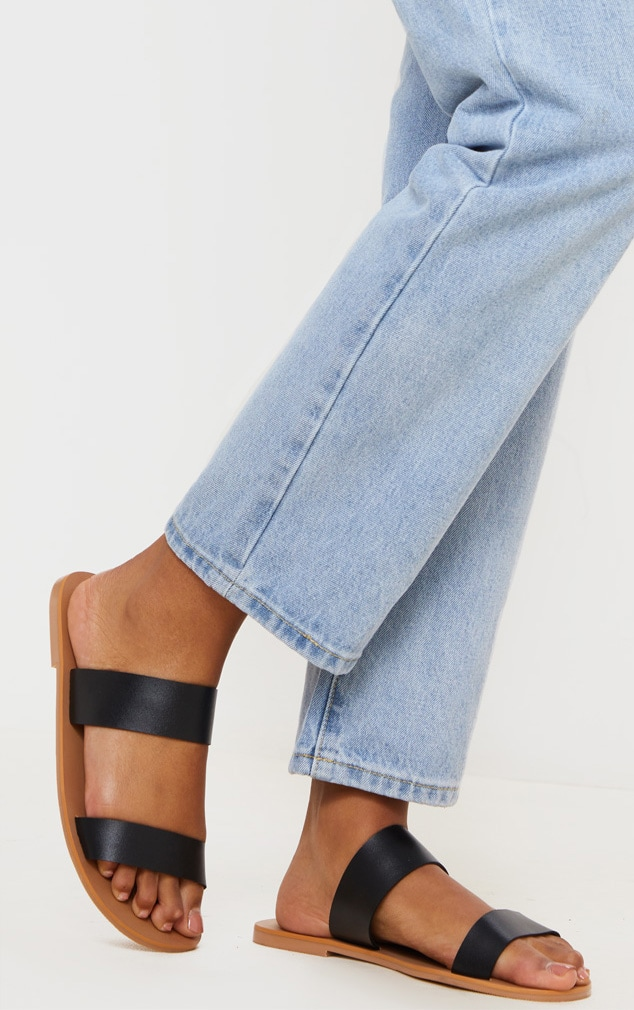 Black Wide Fit Leather Twin Strap Sandal 1