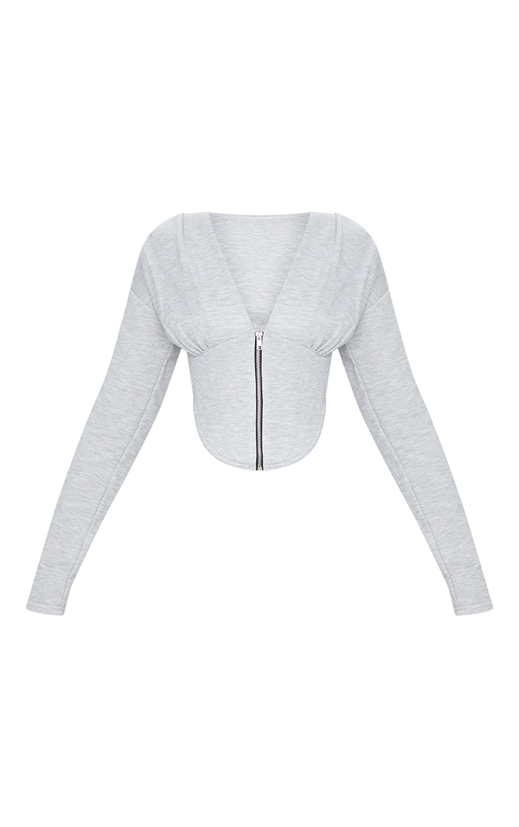 Grey Marl Zip Front Corset Detail Long Sleeve Sweat Top 5