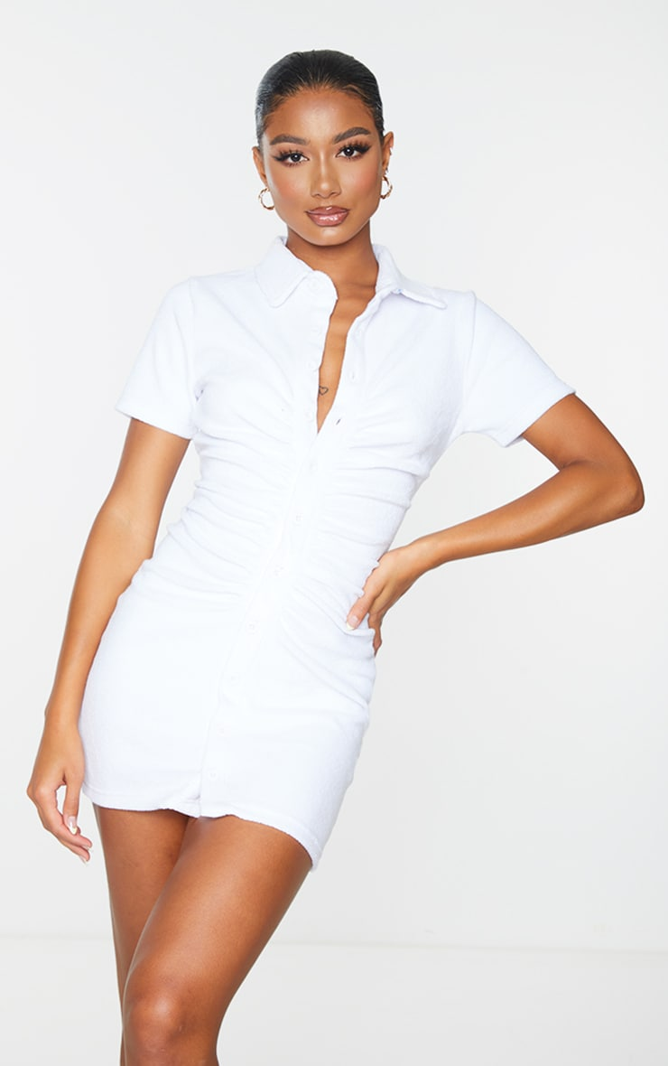 White Ruched Button Down Collar Detail Towelling Bodycon Dress 3