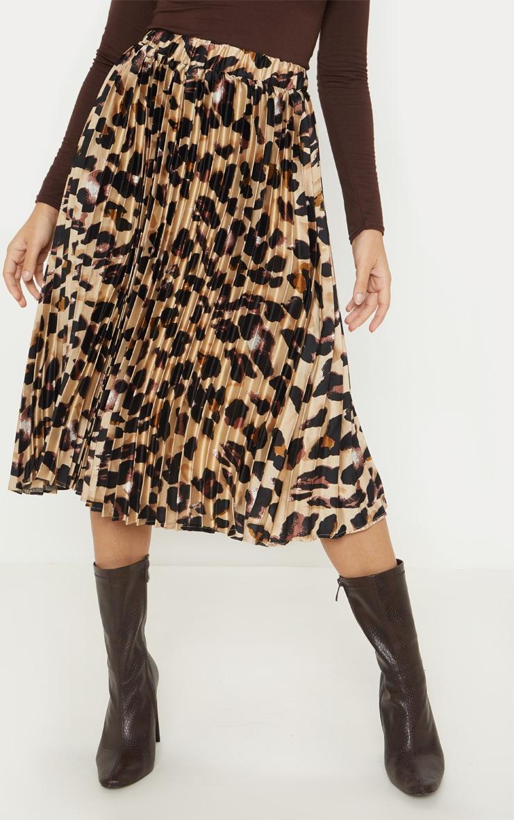 Petite Tan Leopard Print Pleated Midi Skirt 2