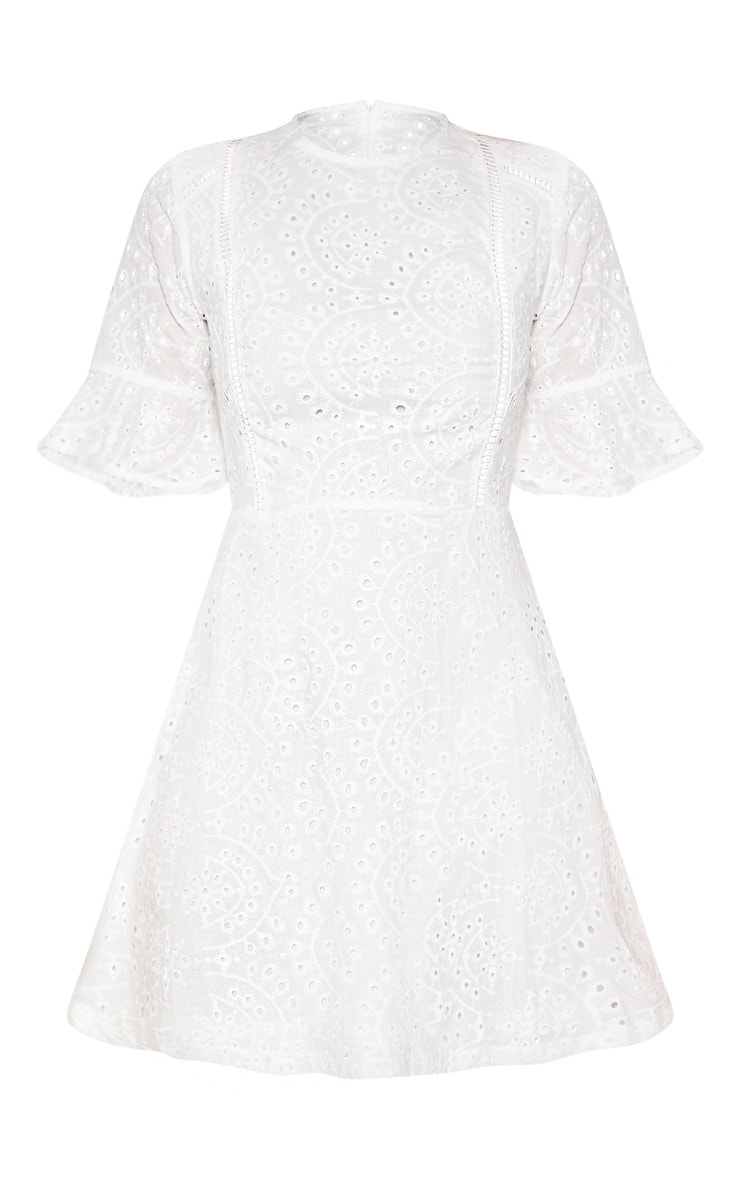 White Broderie Anglaise Frill Sleeve Skater Dress 3