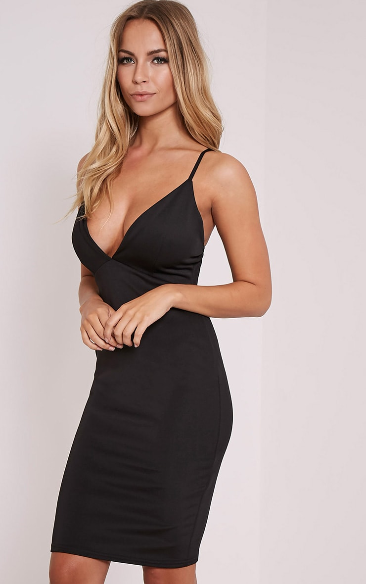 Nada Black Plunge Cross Back Midi Dress 3