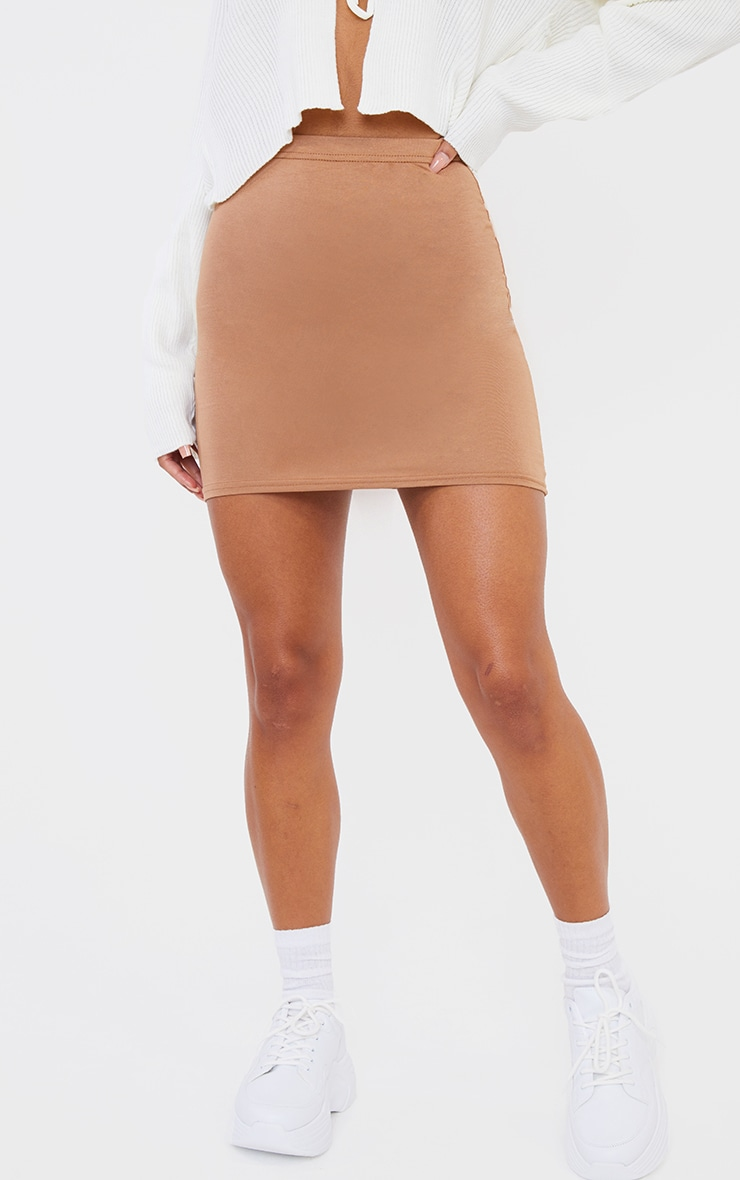 Mini-jupe camel basique en jersey 2
