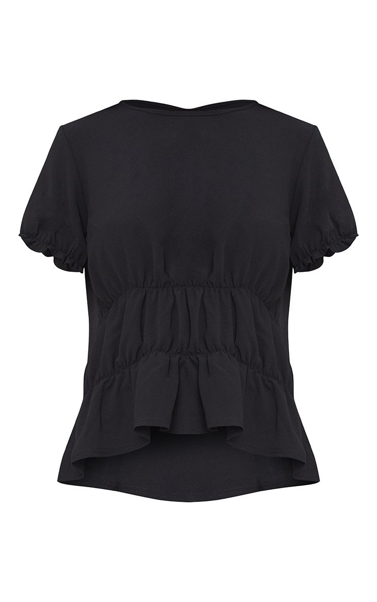 Black Ruched Crew Neck Blouse 3