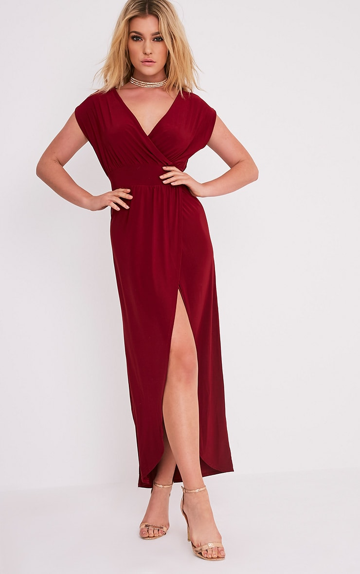 Marlisa Oxblood Slinky Plunge Maxi Dress 4