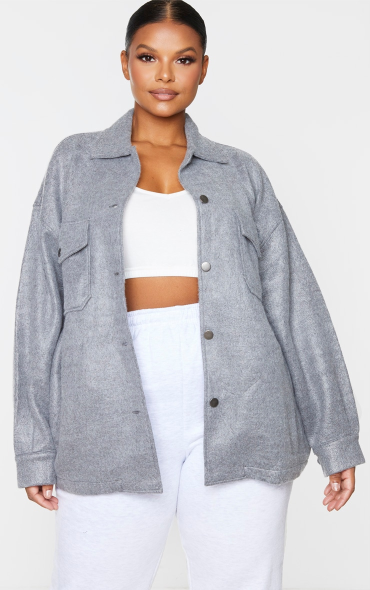 Plus Grey Pocket Front Shacket 3