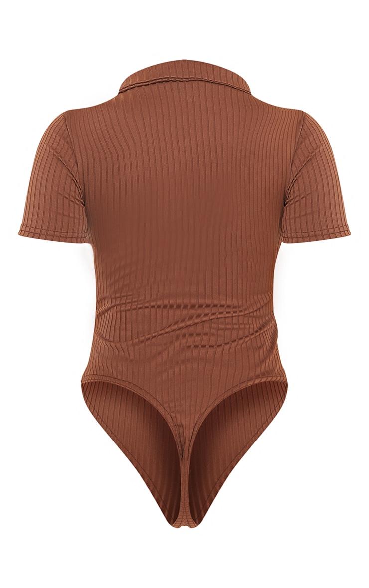 Chocolate Rib Polo Bodysuit 6