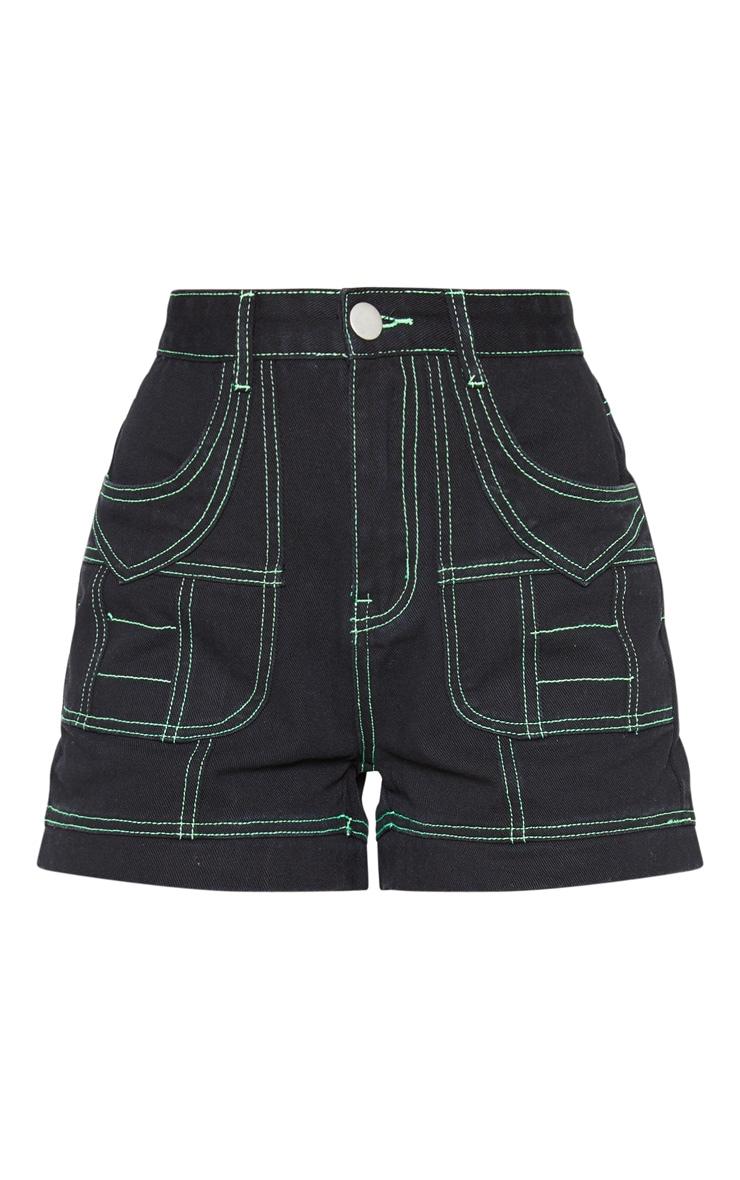 Black Neon Lime Contrast Utility Stitched Detail Denim Shorts 3