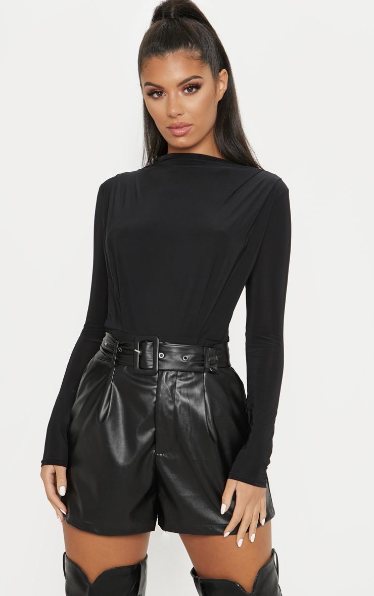 Black High Neck Ruched Slinky Bodysuit 1