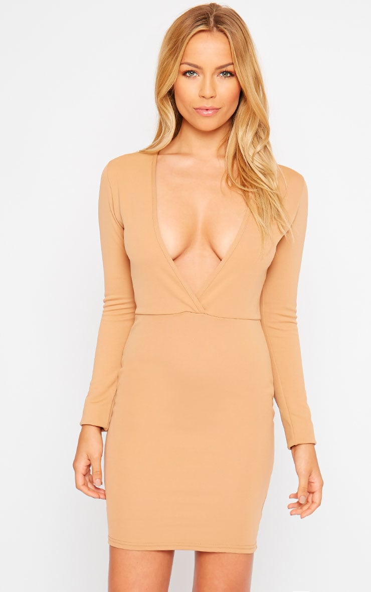 Cici Camel Scuba Plunge Neck Dress 1