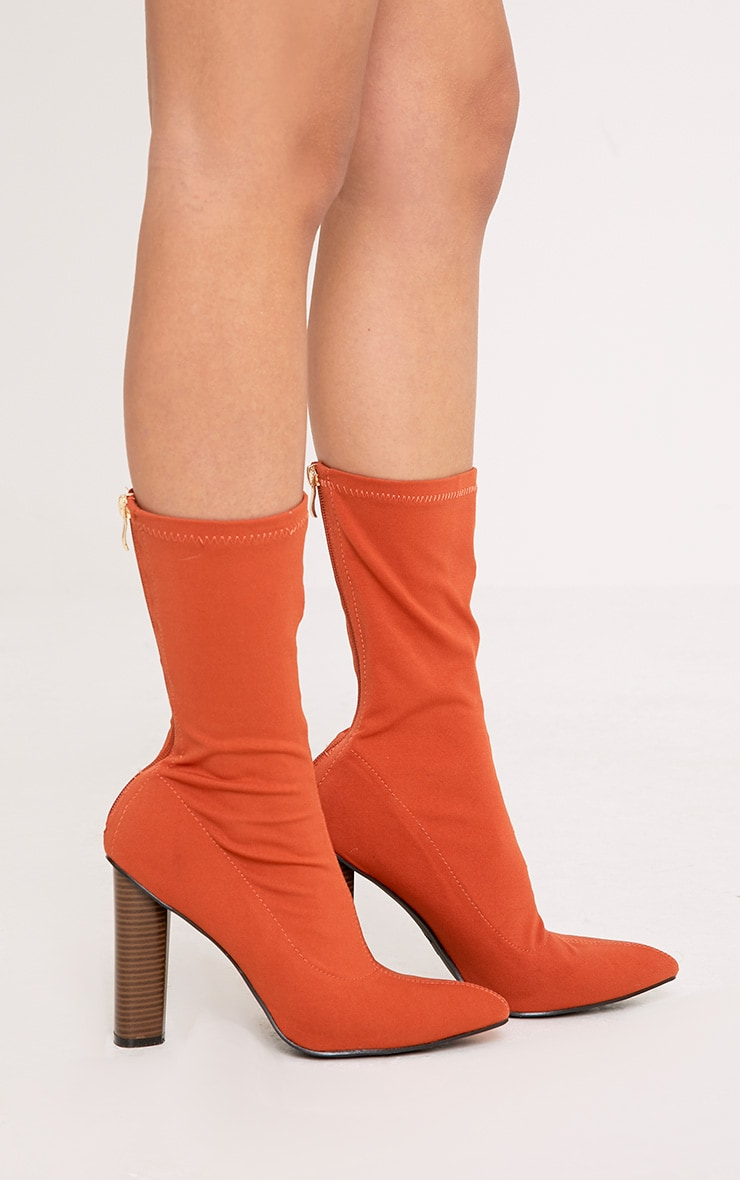 Jayleen Orange Wooden Heel Sock Boots Shoes
