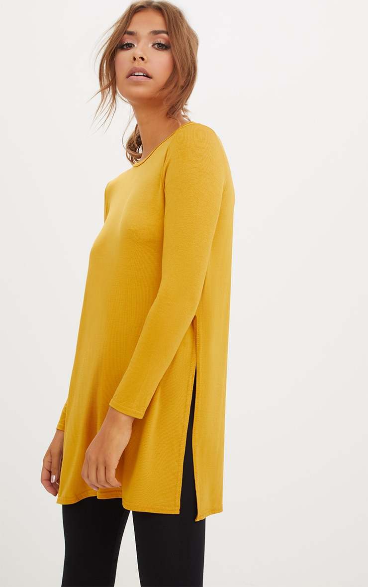 Basic Mustard Longsleeve Side Split Top 2