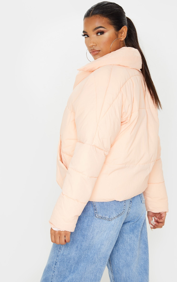 Pink Peach Skin Oversized Cropped Puffer 2