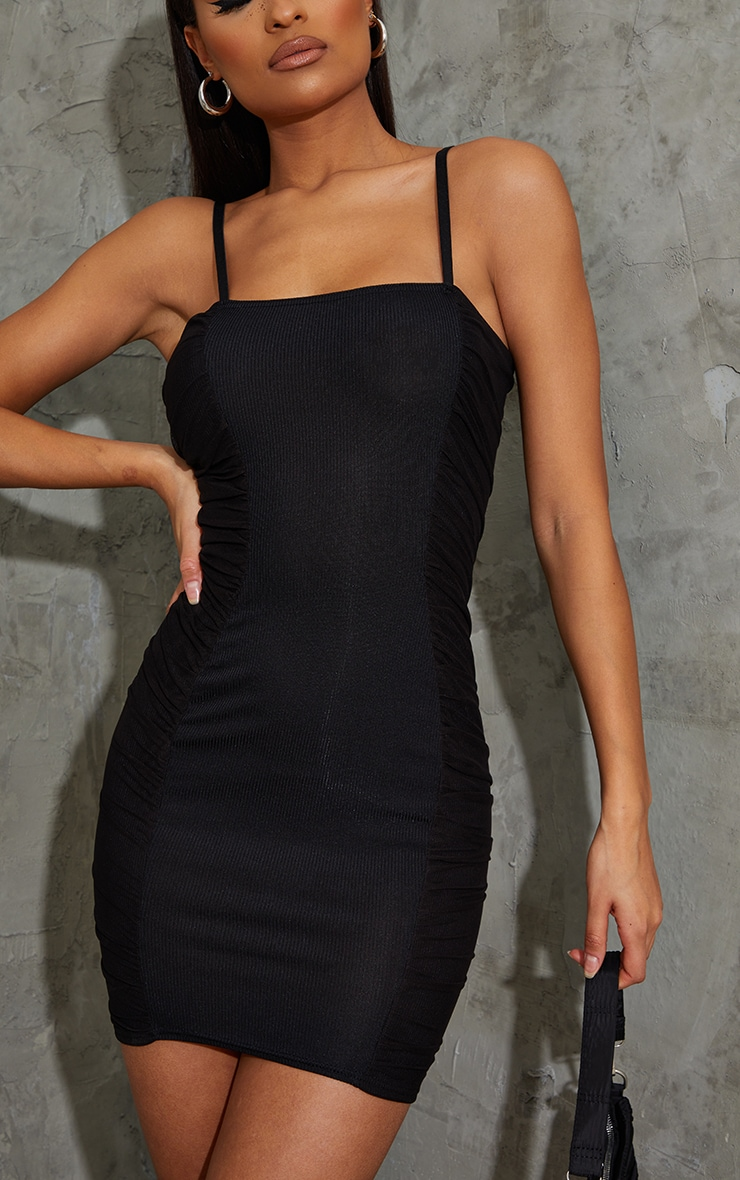 Black Ribbed Mesh Ruched Side Panel Bodycon Dress 4