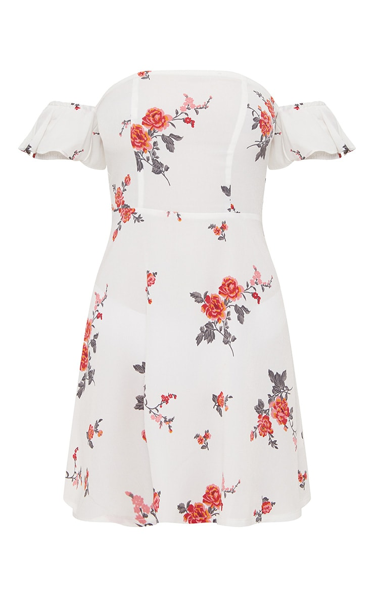 White Floral Print Bardot Skater Dress 3