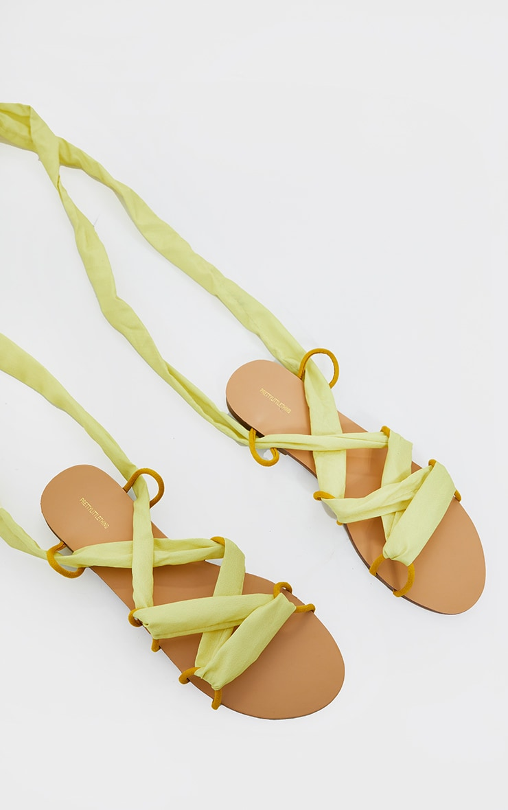 Lime Ghillie Lace Up Sandals 4