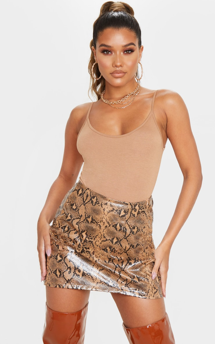 Stone Textured Faux Leather Snake A Line Skirt 4