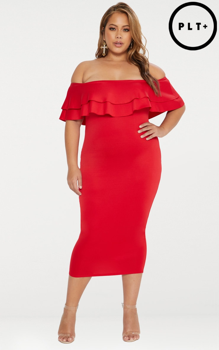 Plus Red Frill Bardot Midi Dress 1
