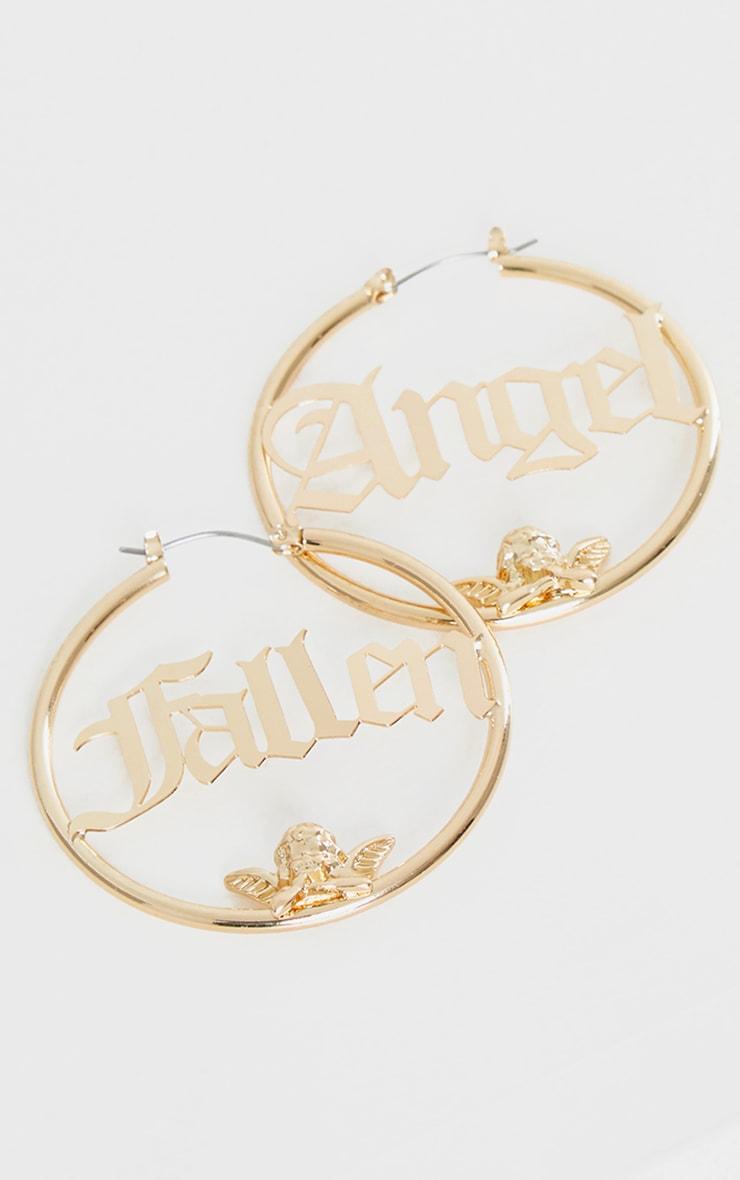Gold Fallen Angel Hoop Earrings 1