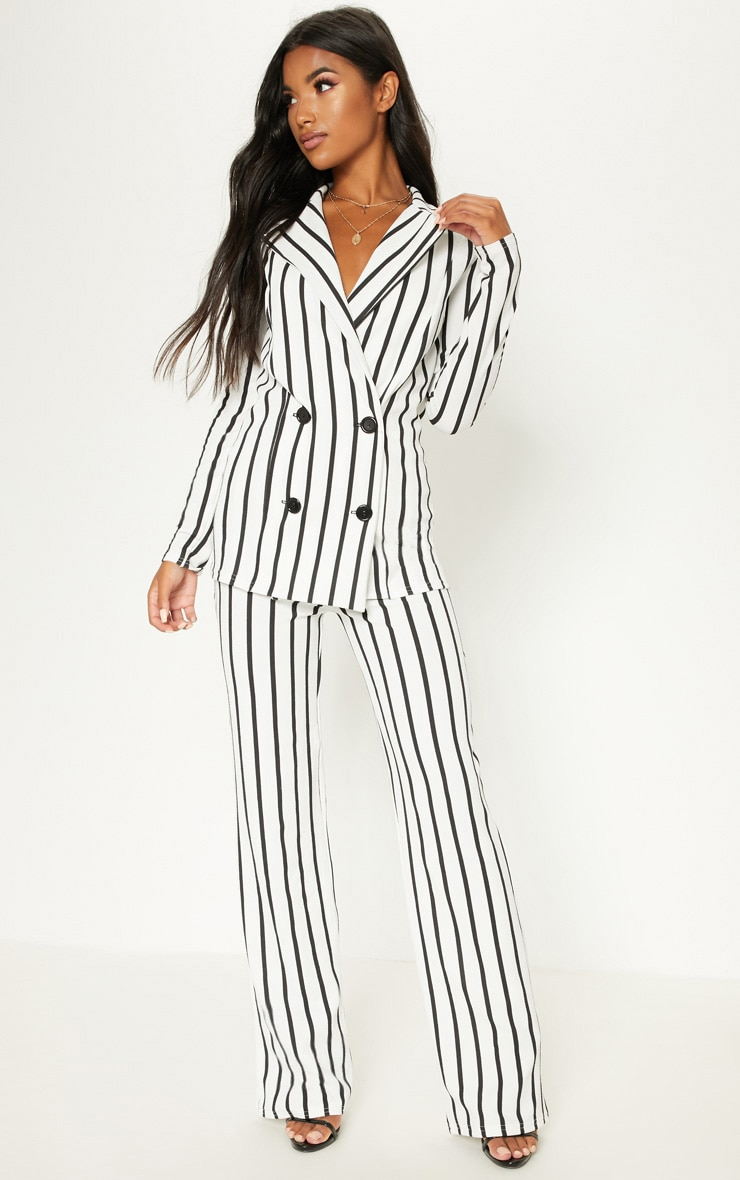 White Striped Double Breasted Blazer 4