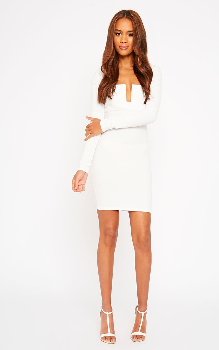 Roz Cream Plunge Mini Dress 3