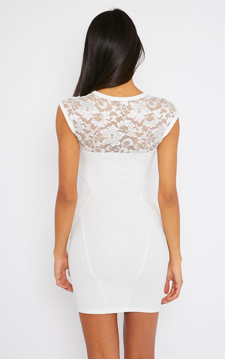 Anabella Cream Lace Insert Mini Dress 2