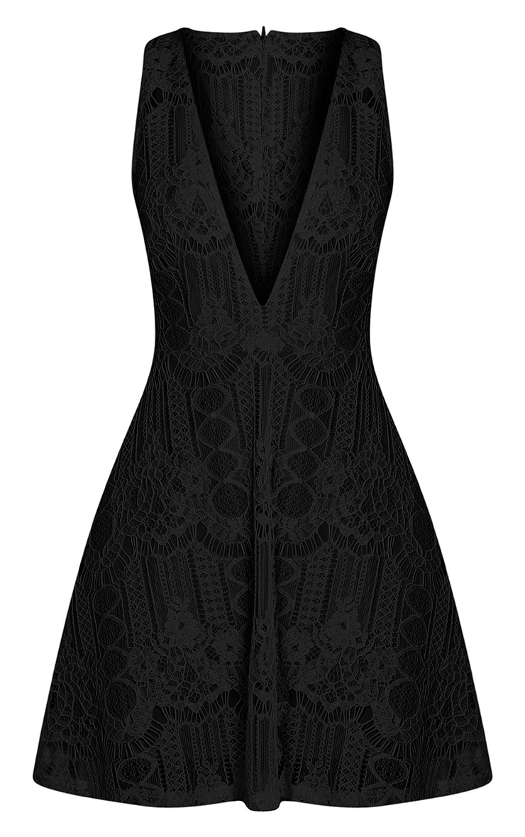 Erlisa Black Plunge Lace Skater Dress 3