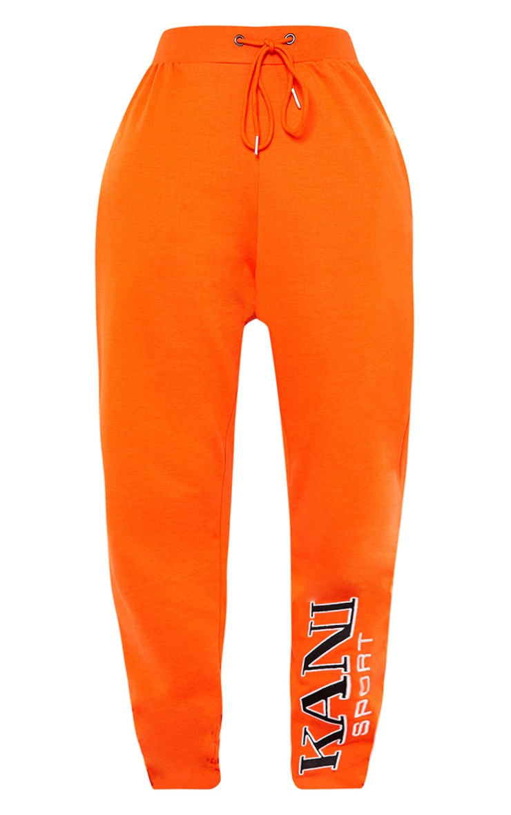 KARL KANI Orange Embroidered Joggers  4