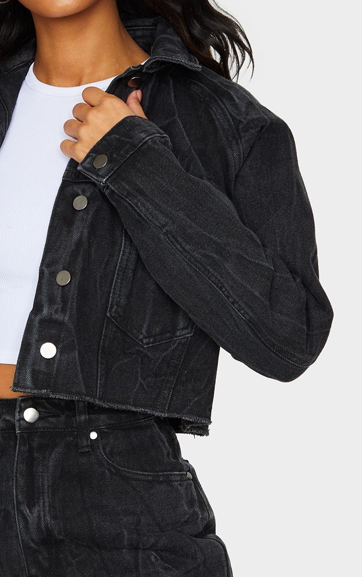 Washed Acid Black Cropped Denim Jacket 4